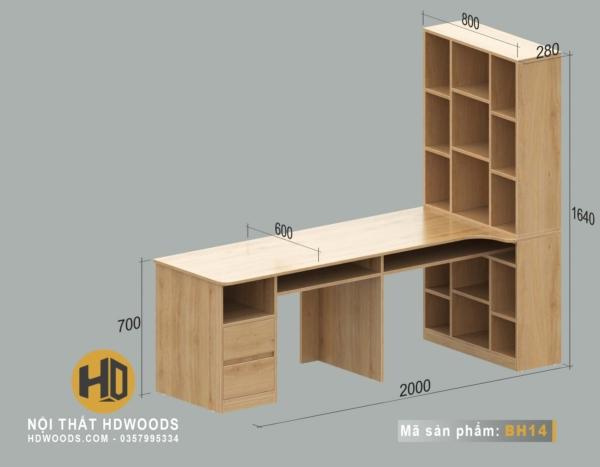 Kích thước bàn học đôi liền giá sách BH14
