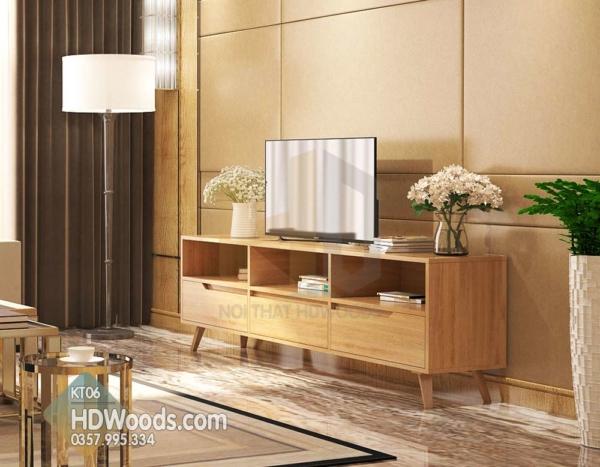 Kệ tivi phòng khách KT06 được làm bằng gỗ MDF chống ẩm bền đẹp